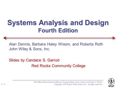 Systems Analysis and Design Fourth Edition