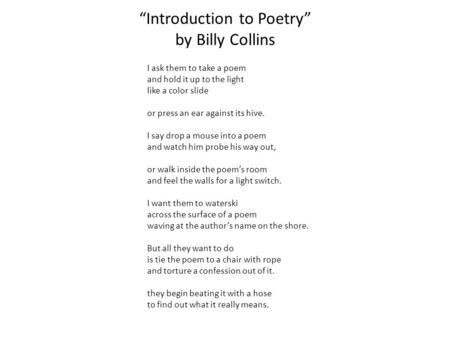 essay on introduction to poetry by billy collins
