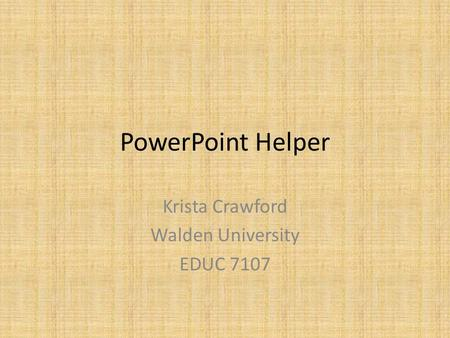 Krista Crawford Walden University EDUC 7107