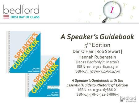 A Speaker's Guidebook with the Essential Guide to Rhetoric 5th Edition