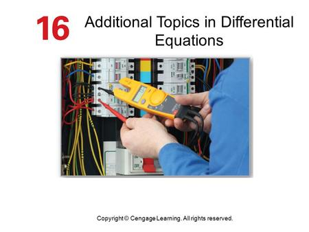 Additional Topics in Differential Equations