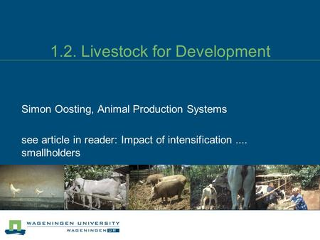1.2. Livestock for Development