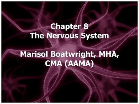Chapter 8 The Nervous System Marisol Boatwright, MHA, CMA (AAMA)