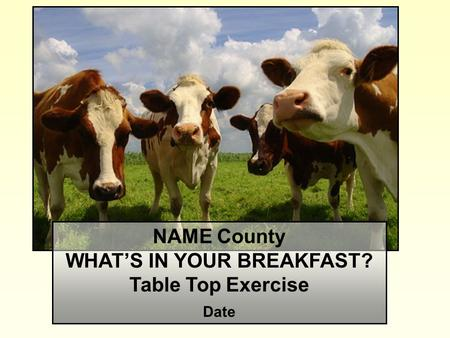 NAME County WHAT'S IN YOUR BREAKFAST? Table Top Exercise Date.