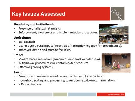 Abt Associates | pg 1 Key Issues Assessed Regulatory and Institutional: Presence of aflatoxin standards. Enforcement, awareness and implementation procedures.