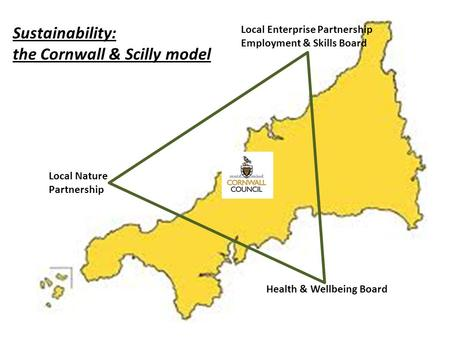 The Cornwall model Local Enterprise Partnership Employment & Skills Board Local Nature Partnership Health & Wellbeing Board Sustainability: the Cornwall.
