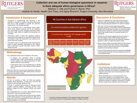 Collection and use of human biological specimens in research: Is there adequate ethics governance in Africa? Madison T. Little and Francis H. Barchi, PhD.