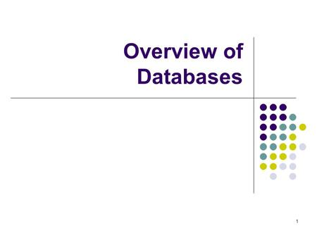 1 Overview of Databases. 2 Content Databases Example: Access Structure Query language (SQL)