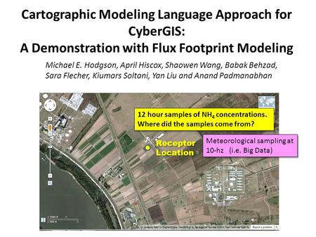 Cartographic Modeling Language Approach for CyberGIS: A Demonstration with Flux Footprint Modeling Michael E. Hodgson, April Hiscox, Shaowen Wang, Babak.