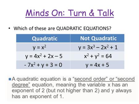 Minds On: Turn & Talk Which of these are QUADRATIC EQUATIONS? y = x 2 y = 3x 3 – 2x 2 + 1 y = 4x 2 + 2x – 5 x 2 + y 2 = 64 - 7x 2 + y + 3 = 0y = 4x + 5.