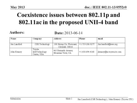 Doc.: IEEE 802.11-13/0552r0 Submission Coexistence issues between 802.11p and 802.11ac in the proposed UNII-4 band Date: 2013-06-14 May 2013 Slide 1 Authors: