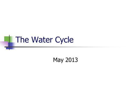 The Water Cycle May 2013. The Water Cycle There are 5 processes at work in the water cycle. Condensation Precipitation Infiltration Runoff Evapotranspiration.