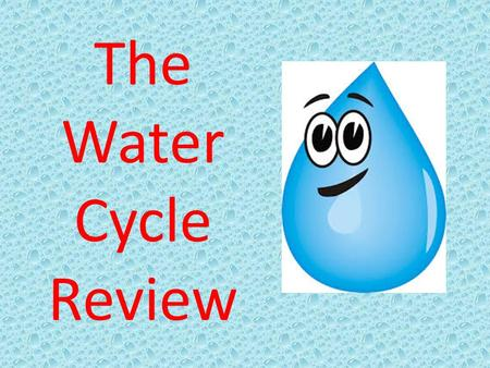 The Water Cycle Review. Evaporation Transpiration Condensation Precipitation Collection / Accumulation Infiltration Percolation GROUNDWATER SUN.