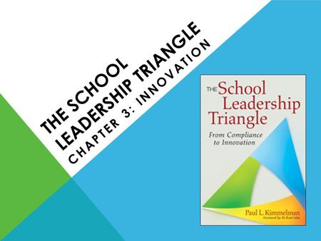 THE SCHOOL LEADERSHIP TRIANGLE CHAPTER 3: INNOVATION.