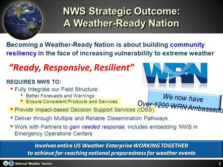 National Weather Service NWS Strategic Outcome: A Weather-Ready Nation Becoming a Weather-Ready Nation is about building community resiliency in the face.