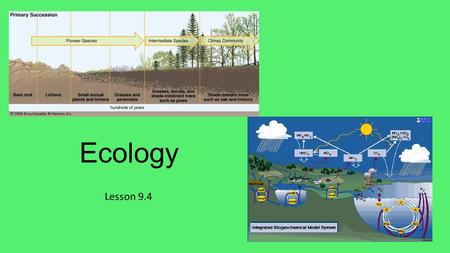 Ecology Lesson 9.4. Lesson Objectives Outline primary and secondary succession, and define climax community. Define biogeochemical cycles. Describe the.