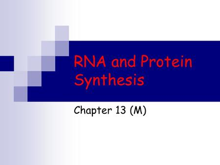 RNA and Protein Synthesis Chapter 13 (M). Information Flow Language of DNA is written as a sequence of bases If the bases are the letters the genes are.