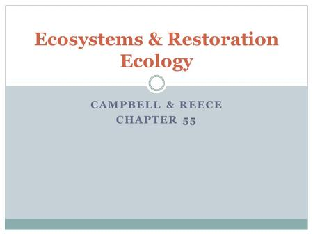 Ecosystems & Restoration Ecology