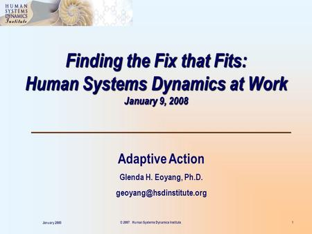 Finding the Fix that Fits: Human Systems Dynamics at Work January 9, 2008 Adaptive Action Glenda H. Eoyang, Ph.D. January 2008.