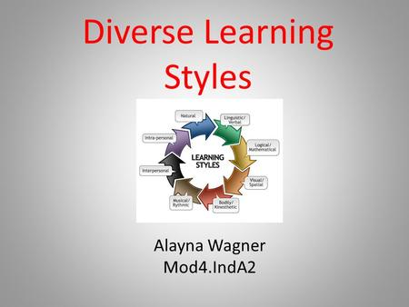 Diverse Learning Styles Alayna Wagner Mod4.IndA2.
