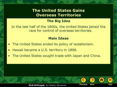 The United States Gains Overseas Territories
