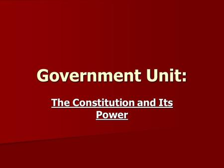 Government Unit: The Constitution and Its Power. Articles of Confederation Articles of Confederation First attempt at a governing document. First attempt.