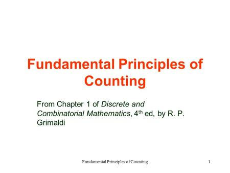 Principles and combinatorics techniques in pdf
