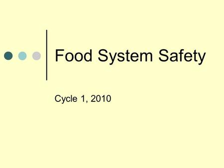 Food System Safety Cycle 1, 2010. Largest Egg Recall: tied to one farmer. A half billion eggs have been recalled for possible salmonella infection, but.