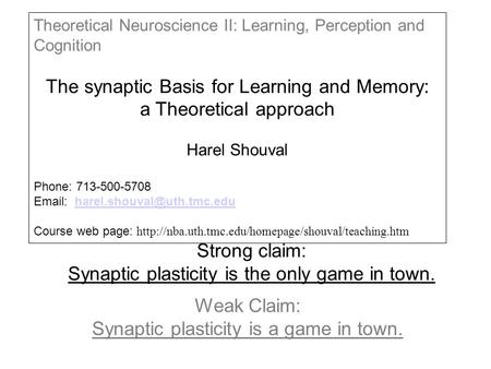 Strong claim: Synaptic plasticity is the only game in town. Weak Claim: Synaptic plasticity is a game in town. Theoretical Neuroscience II: Learning, Perception.