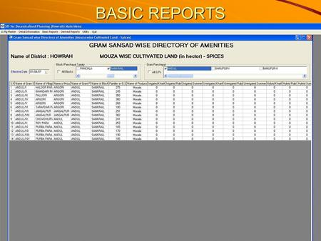 BASIC REPORTS. Statistical Information provided by the SIS.