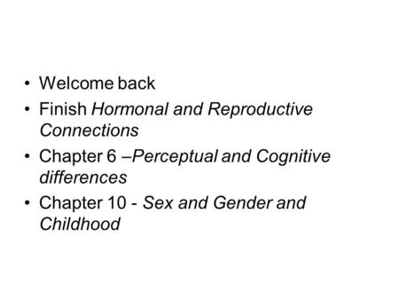 sex related differences and cognitive development