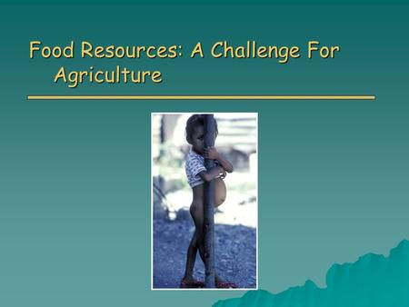 Food Resources: A Challenge For Agriculture