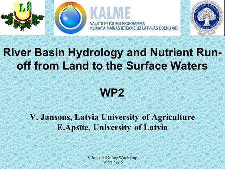 V.Jansons Kalme Workshop 16.XI.2009 River Basin Hydrology and Nutrient Run- off from Land to the Surface Waters WP2 V. Jansons, Latvia University of Agriculture.