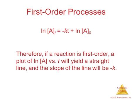 Chemical Kinetics © 2009, Prentice-Hall, Inc. First-Order Processes Therefore, if a reaction is first-order, a plot of ln [A] vs. t will yield a straight.