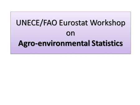UNECE/FAO Eurostat Workshop on Agro-environmental Statistics.