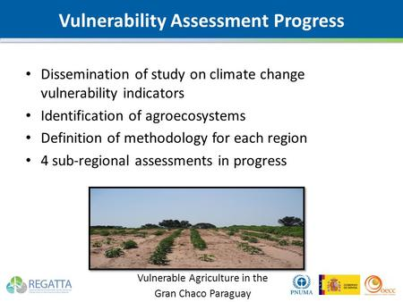 Vulnerability Assessment Progress Dissemination of study on climate change vulnerability indicators Identification of agroecosystems Definition of methodology.