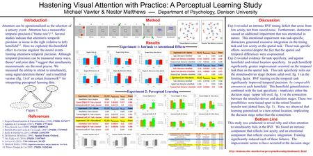Hastening Visual Attention with Practice: A Perceptual Learning Study Michael Vawter & Nestor Matthews Department of Psychology, Denison University DiscussionIntroduction.