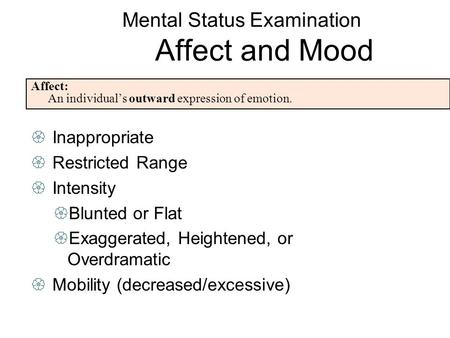 components mental status examination The mini–mental state examination (mmse) or folstein test is a 30-point questionnaire that is used extensively in clinical and research settings to measure cognitive impairment.