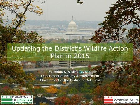 Updating the District's Wildlife Action Plan in 2015 Fisheries & Wildlife Division Department of Energy & Environment Government of the District of Columbia.