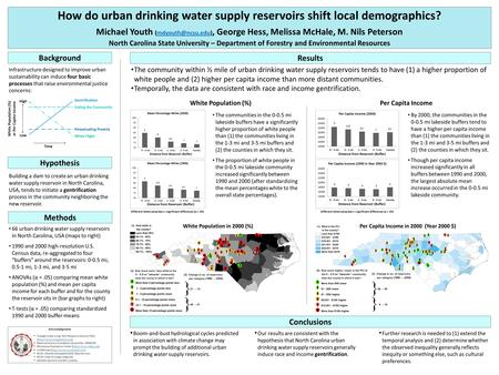 How do urban drinking water supply reservoirs shift local demographics? Michael Youth George Hess, Melissa McHale, M. Nils