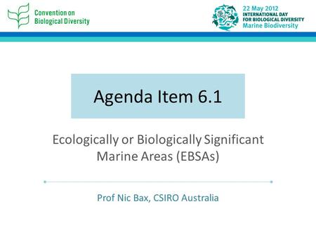 Agenda Item 6.1 Ecologically or Biologically Significant Marine Areas (EBSAs) Prof Nic Bax, CSIRO Australia.