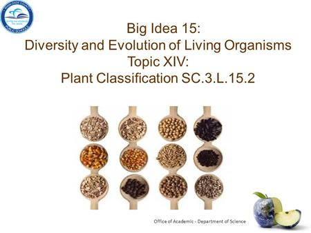 Diversity and Evolution of Living Organisms Topic XIV: