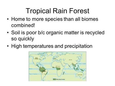 Tropical Rain Forest Home to more species than all biomes combined! Soil is poor b/c organic matter is recycled so quickly High temperatures and precipitation.
