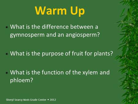 Sheryl Searcy Ninth Grade Center  2012 Warm Up  What is the difference between a gymnosperm and an angiosperm?  What is the purpose of fruit for plants?
