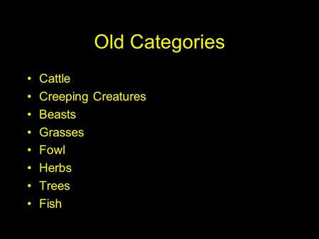 Old Categories Cattle Creeping Creatures Beasts Grasses Fowl Herbs Trees Fish.