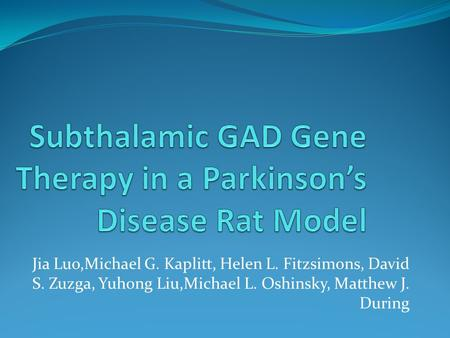 Subthalamic GAD Gene Therapy in a Parkinson's Disease Rat Model