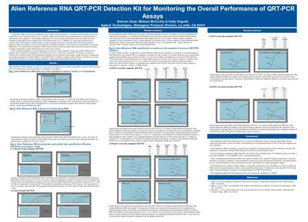 Results Alien Reference RNA QRT-PCR Detection Kit for Monitoring the Overall Performance of QRT-PCR Assays Bahram Arezi, Melissa McCarthy & Holly Hogrefe.