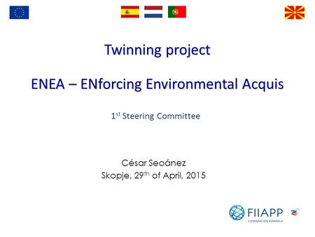 Twinning project ENEA – ENforcing Environmental Acquis César Seoánez Skopje, 29 th of April, 2015 1 st Steering Committee.