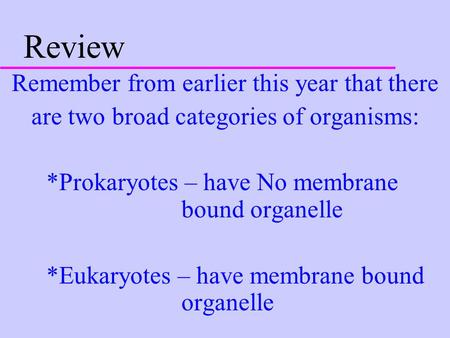 Review Remember from earlier this year that there are two broad categories of organisms: *Prokaryotes – have No membrane bound organelle *Eukaryotes –