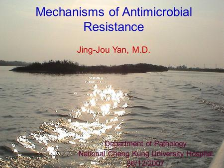 Mechanisms of Antimicrobial Resistance Jing-Jou Yan, M.D. Department of Pathology National Cheng Kung University Hospital 26/12/2007.